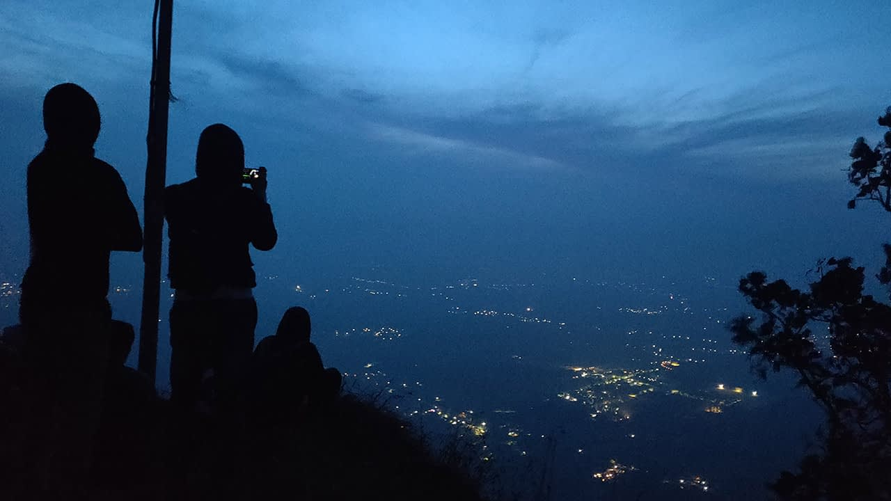 Time for dawn to break- A view of the city limits from Skandagiri Sunrise Trek